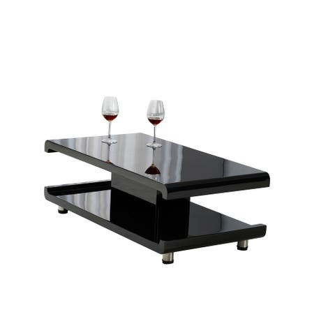 CASA ll Modern Euro Coffee Table with Remote Multi-color LED Light