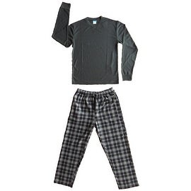 Men's 2 PC Thermal Top & Fleece Lined Pants Pajamas Set (Grey)