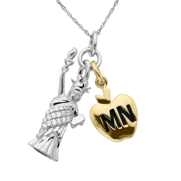 Manhattan Collection: Big Apple & Statue of Liberty Charm Pendant in 14K Two-Tone Gold