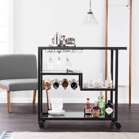 Zephs Black Smoked Mirror Bar Cart