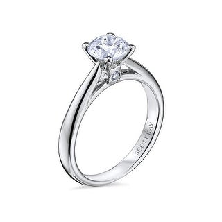 14kt White Gold Ladies Solitaire Semi Mount with 0.03CT Surprise Diamond Set Wedding Band by Scott Kay (More options available)