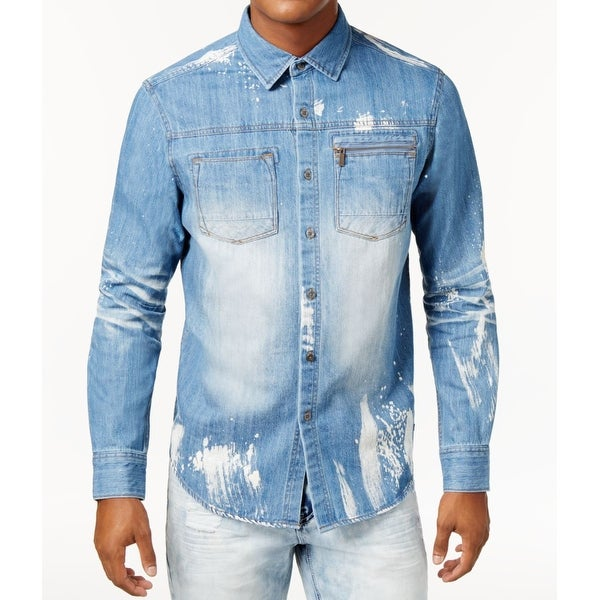 3865e8425f Shop Sean John Blue Mens Size XL Denim 3D Wash Button Down Shirt - On Sale  - Free Shipping On Orders Over  45 - Overstock - 26932649