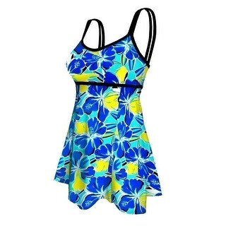 Deep Blue Womens Blue Yellow Floral Double Strap Plus Size Swim Dress