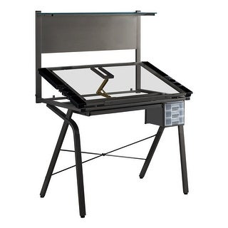 Monarch 7034 Adjustable Grey Metal Drafting Table With Tempered Glass