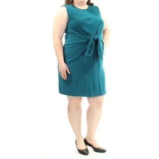 Womens Teal Sleeveless Above The Knee Wear To Work Dress Size: 2X