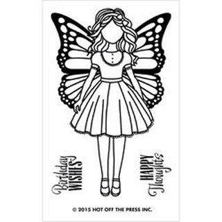 """Small Girl W/Butterfly Wings - Hot Off The Press Acrylic Stamps 2.5""""X5.5"""" Sheet"""