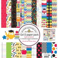 "Doodlebug Double-Sided Paper Pack 12""X12"" 11/Pkg-School"
