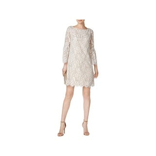 Jessica Howard Womens Petites Cocktail Dress Lace Bell Sleeve