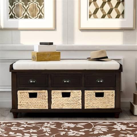 Merax 3-Drawer Storage Bench with 3 Rattan Baskets