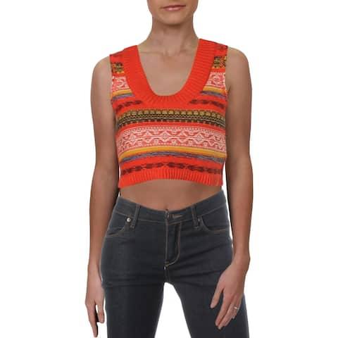Free People Womens Fields Of Fairisle Sweater Vest Cropped Pattern