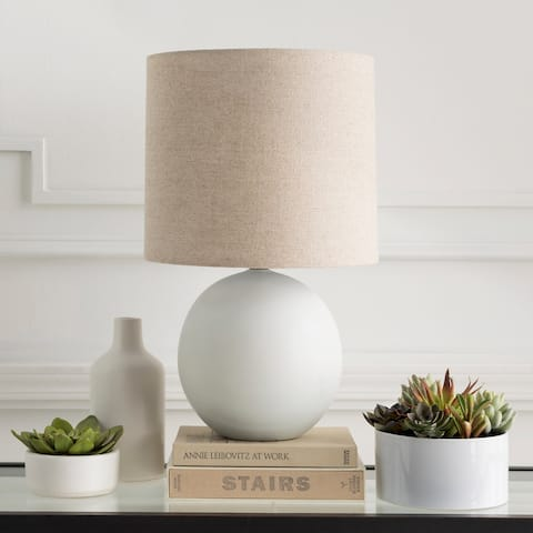 Isaia White Faux Marble Ceramic Table Lamp