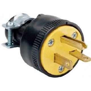 Pass & Seymour Heavy Duty Rubber Construction Plug, 20A, 250V, Black