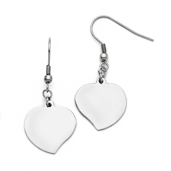 Chisel Stainless Steel Polished Heart Shepherd Hook Earrings