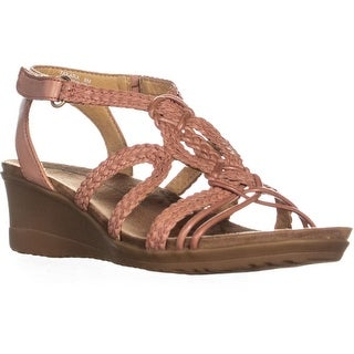 Baretraps Takara Criss Cross Wedge Sandals, Red Rose