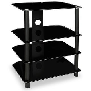 Mount-It! TV Media Stand, Glass Shelves, Audio Video Components Storage