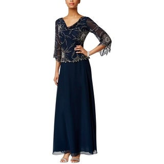 J Kara Womens Evening Dress Beaded Popover
