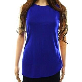 INC NEW Blue Goddess Womens Size Medium M Contrast Illusion Tank Blouse
