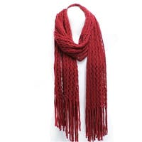Winter Knit Tube Scarf with Fringe