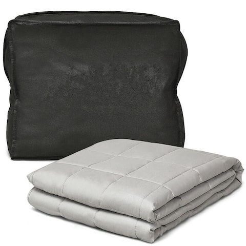 Gymax Weighted Blanket 15 lbs Full /Queen Size Cotton Blanket Glass - 48'' x 72'' 15 lbs