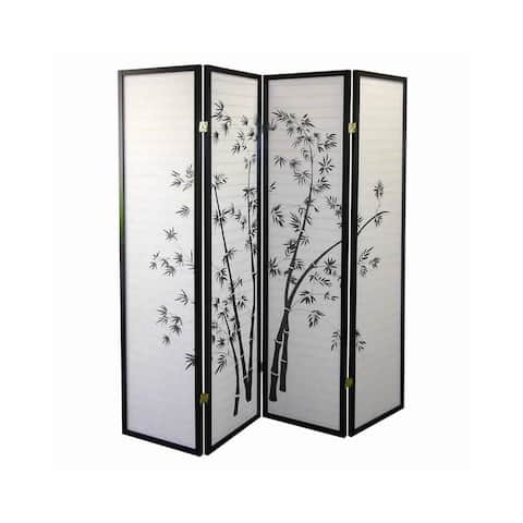 Wood and Paper 4 Panel Room Divider with Bamboo Print, White and Black - 70 H x 1 W x 60 L Inches