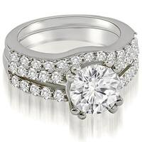 1.55 cttw. 14K White Gold Cathedral Split Shank Round Cut Diamond Bridal Set