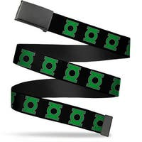 Blank Black  Buckle Green Lantern Logo Black Green Webbing Web Belt