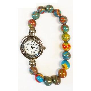Multi Swirl Quartz Natural Stone Beaded Watch
