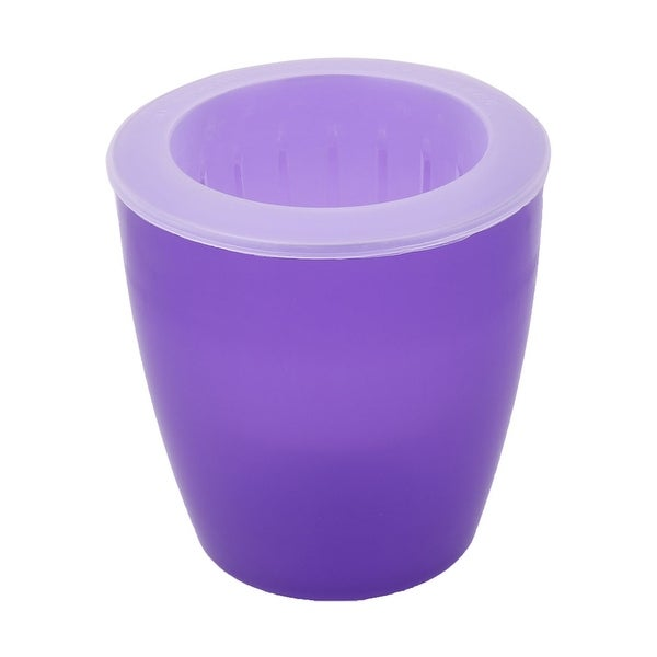 Office Plastic Table Decor Self Watering Flower Plant Pot Planter Holder Purple