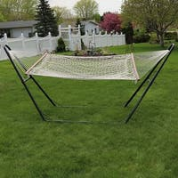 Sunnydaze 2 Person Cotton Rope Hammock with Spreader Bar & Universal Stand