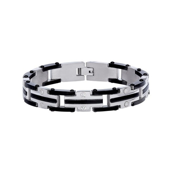 Men's 1/8 ct Diamond Link Bracelet in Stainless Steel