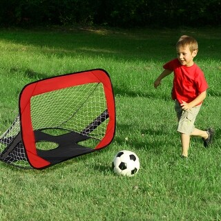 Goplus Portable 2 in 1 Pop Up Kids Soccer Goal Net Soccer Target Sports w Carry Bag - red&black