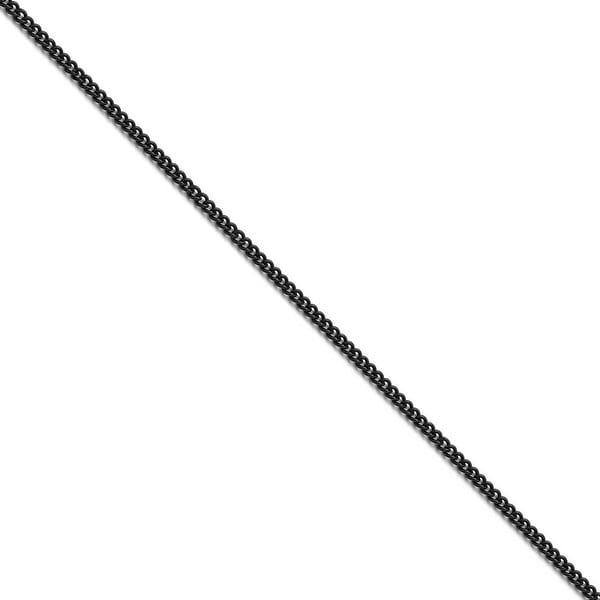 Chisel Stainless Steel Polished Black IP-plated 2.25mm Round Curb Chain (2.3 mm) - 16 in