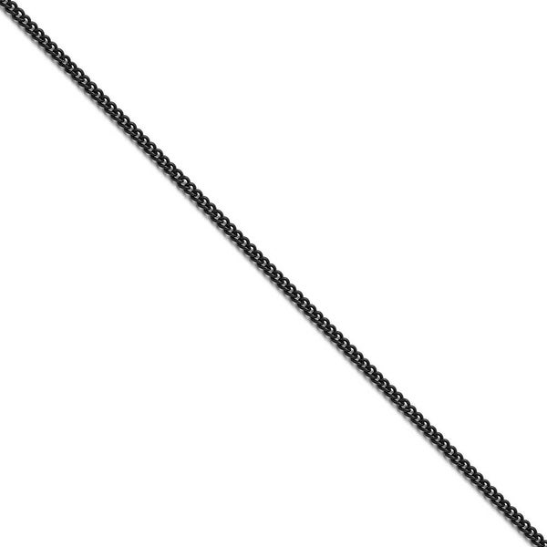 Chisel Stainless Steel Polished Black IP-plated 2.25mm Round Curb Chain (2.3 mm) - 20 in