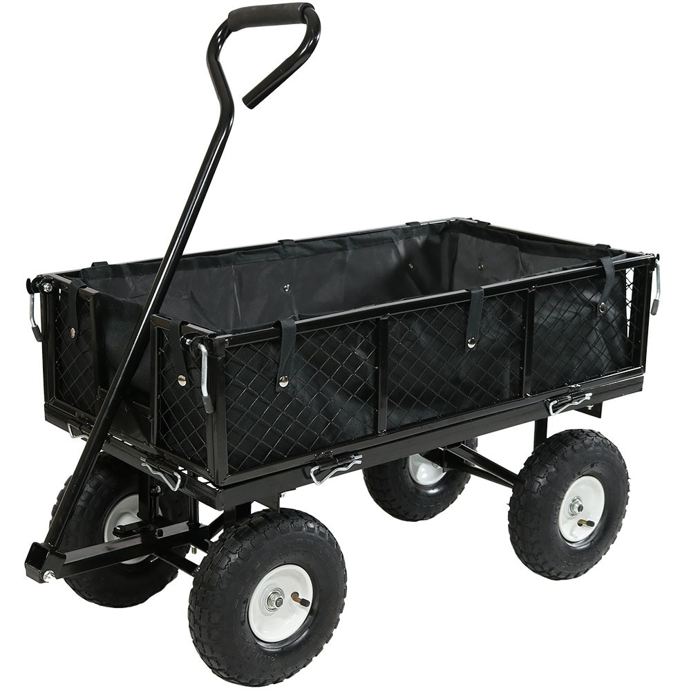 Sunnydaze Utility Cart with Folding Sides and Liner Set - Multiple Colors Available - Thumbnail 27