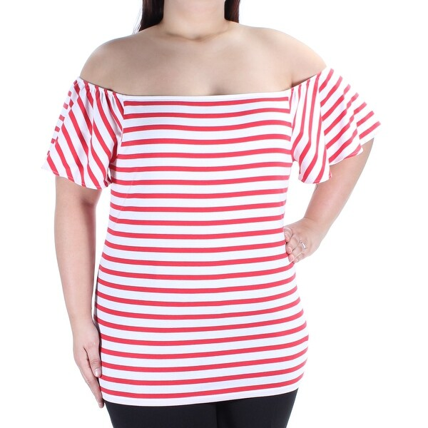2062806f81c2d7 Shop Womens Red Striped Bell Sleeve Off Shoulder Top Size XL - On Sale -  Free Shipping On Orders Over  45 - Overstock.com - 21331414