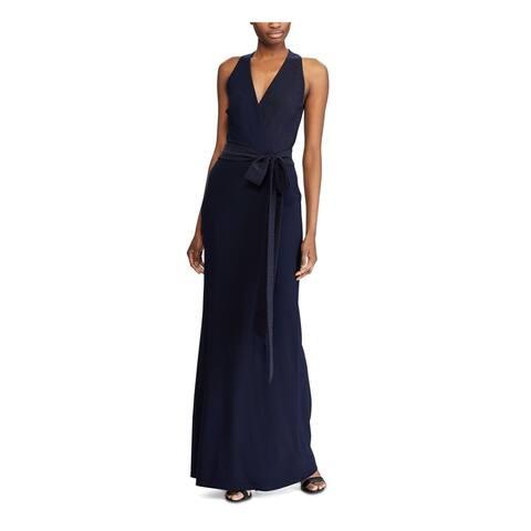 RALPH LAUREN Womens Navy Sleeveless Maxi Sheath Formal Dress Size 2