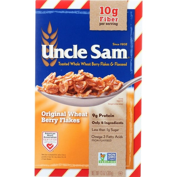Uncle Sam Cereal, Original Whole Wheat Berry and Flaxseed, 13 oz, 12 Boxes