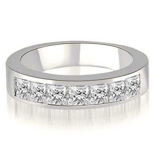 0.70 cttw. 14K White Gold Princess Diamond 7-Stone Channel Wedding Band