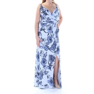 Womens Light Blue Floral Spaghetti Strap FullLength Faux Wrap Wedding Dress Size: 4