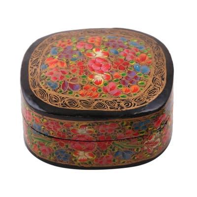 NOVICA Cheerful Flare, Papier mache decorative box