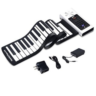 61 Key Electronic Roll Up Piano Keyboard Silicone Rechargeable Bluetooth w/Pedal - WHITE