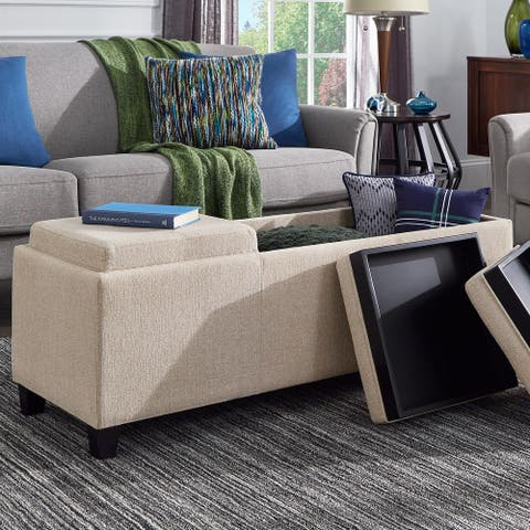 Trace Heathered Weave Storage Bench with Trays by iNSPIRE Q Classic