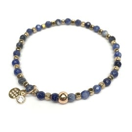 Blue Sodalite 'Friendship' Stretch Bracelet, 14k over Sterling Silver