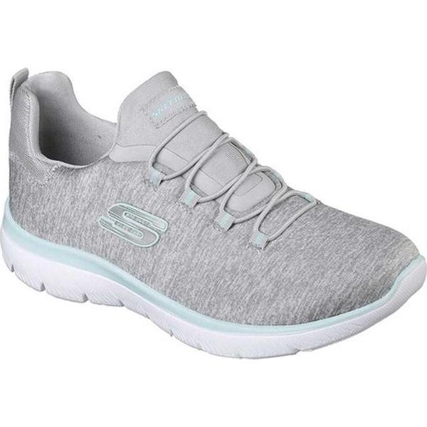 4ab7f99c2acb Shop Skechers Women s Summits Quick Getaway Sneaker Light Gray Aqua ...