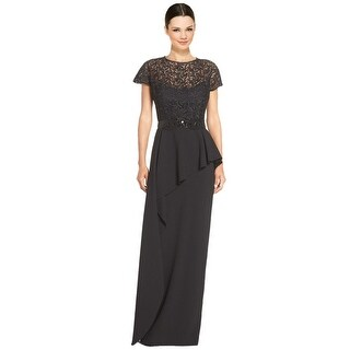 Teri Jon Embellished Lace Bodice Peplum Evening Gown Dress