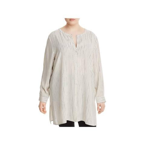 Eileen Fisher Womens Plus Button-Down Top Silk Pinstripe