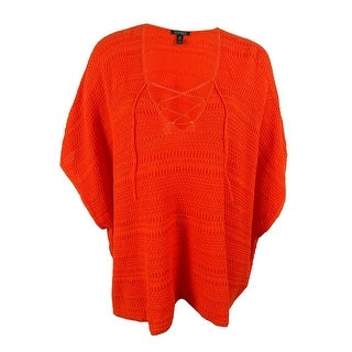 Ralph Lauren Women's Crochet Linen Blend Poncho Sweater - L/XL