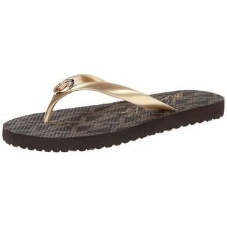 754bd5e2175df3 Michael Kors Jet Set PVC Rubber Women Flip Flops Sandals - Gold