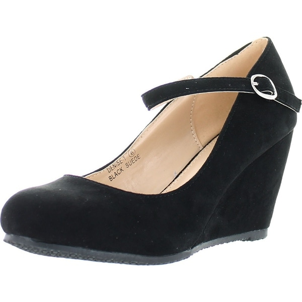 Bella Marie Denise-1 Womens Round Toe Wedge Heel Mary Jane Squeaky Strap Sue.