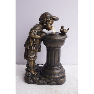 Benzara BM148396 Golden Boy Drinking Water Out of Fountain with LED Light